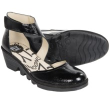 Fly London Piat Shoes - Leather, Wedge Heel (For Women) in Black Crinkle Patent - Closeouts