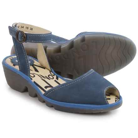 Fly London Popa Wedge Sandals - Leather (For Women) in Azure - Closeouts