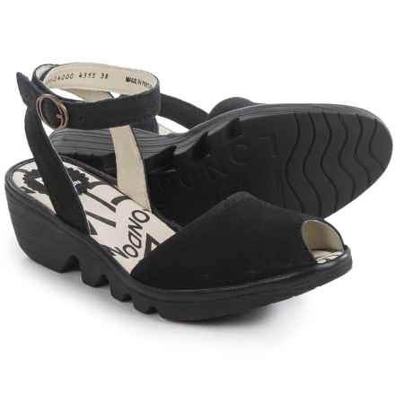 Fly London Popa Wedge Sandals - Leather (For Women) in Black - Closeouts