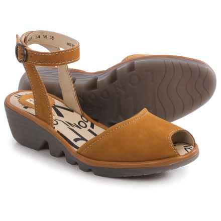 Fly London Popa Wedge Sandals - Leather (For Women) in Mustard - Closeouts