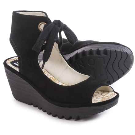 Fly London Yaffa Wedge Sandals - Suede  (For Women) in Black - Closeouts
