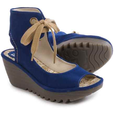 Fly London Yaffa Wedge Sandals - Suede  (For Women) in Blue - Closeouts