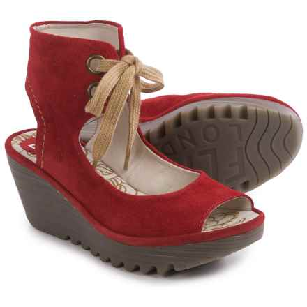 Fly London Yaffa Wedge Sandals - Suede  (For Women) in Street Red - Closeouts