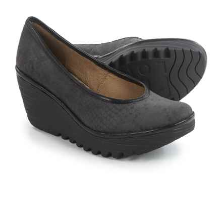 Fly London Yalu Shoes - Leather, Wedge Heel (For Women) in Black Snake - Closeouts