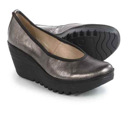 Fly London Yalu Shoes - Leather, Wedge Heel (For Women) in Silver - Closeouts