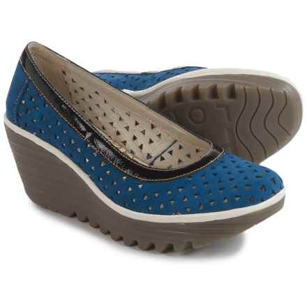 Fly London Yare Shoes - Leather (For Women) in Blue/Black/Off White - Closeouts