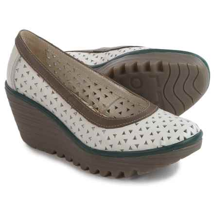 Fly London Yare Shoes - Leather (For Women) in Off White/Dark Grey/Pewter - Closeouts
