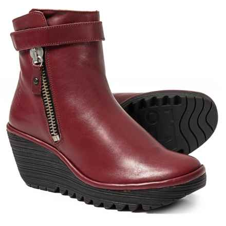 Fly London Yava Wedge Booties - Leather (For Women) in Cordoba Red - Closeouts