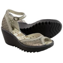 Fly London Ydel Wedge Sandals - Leather (For Women) in Lead/Silver/Black - Closeouts