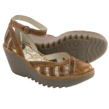 Fly London Yeil Wedge Sandals - Leather (For Women) in Camel - Closeouts