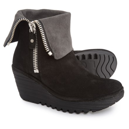 10e60a6e180 Fly London YEX668FLY Wedge Boots - Leather (For Women) in Black Diesel -