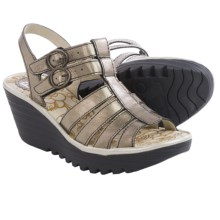Fly London Ygor Sandals - Leather, Wedge Heel (For Women) in Lead/Silver - Closeouts