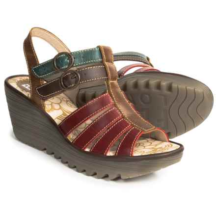 Fly London Ygor Sandals - Leather, Wedge Heel (For Women) in Red/Dark Brown/Petro/Camel - Closeouts