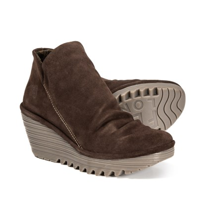 2de81e08e39016 Fly London Yip Wedge Booties - Leather (For Women) in Expresso - Closeouts