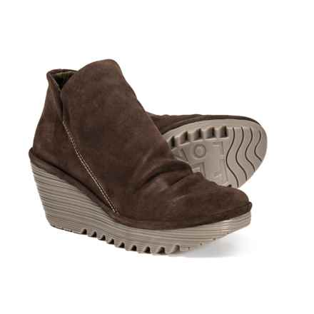 Fly London Yip Wedge Booties - Leather (For Women) in Expresso - Closeouts