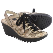 Fly London Yito Sandals - Leather, Wedge Heel (For Women) in Lead - Closeouts