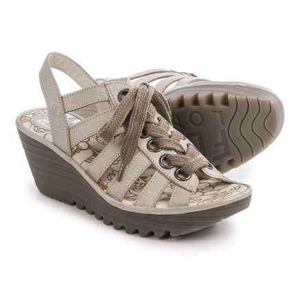 Fly London Yito Sandals - Leather, Wedge Heel (For Women) in Silver - Closeouts