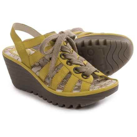 Fly London Yito Sandals - Leather, Wedge Heel (For Women) in Yellow - Closeouts