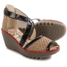 Fly London Ynes Wedge Sandals - Leather (For Women) in Beige/Black/Red - Closeouts