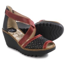 Fly London Ynes Wedge Sandals - Leather (For Women) in Black/Red/Camel - Closeouts