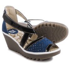Fly London Ynes Wedge Sandals - Leather (For Women) in Blue/Black/White - Closeouts