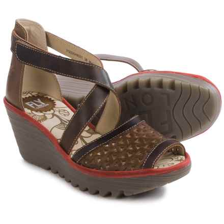 Fly London Ynes Wedge Sandals - Leather (For Women) in Camel/Dark Brown/Red - Closeouts