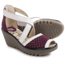 Fly London Ynes Wedge Sandals - Leather (For Women) in Magenta/Off White - Closeouts