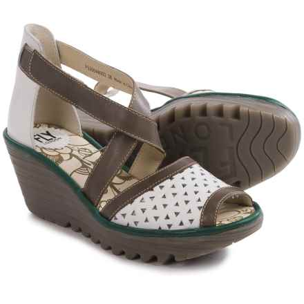 Fly London Ynes Wedge Sandals - Leather (For Women) in Off White/Dark Grey/Pewter - Closeouts