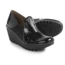 Fly London Yua Wedge Shoes - Leather (For Women) in Black - Closeouts