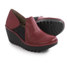 Fly London Yua Wedge Shoes - Leather (For Women) in Cordoba Red - Closeouts