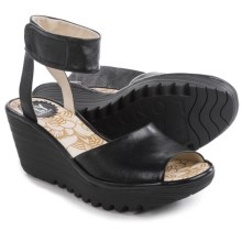 Fly London Yula Wedge Sandals - Leather (For Women) in Black - Closeouts