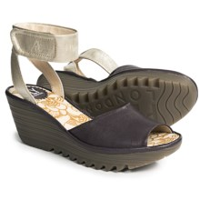Fly London Yula Wedge Sandals - Leather (For Women) in Lilla/Silver - Closeouts
