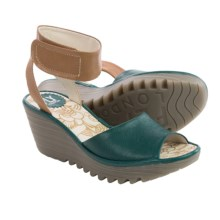 Fly London Yula Wedge Sandals - Leather (For Women) in Nile Green/Tan - Closeouts