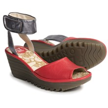 Fly London Yula Wedge Sandals - Leather (For Women) in Scarlet/Pewter - Closeouts
