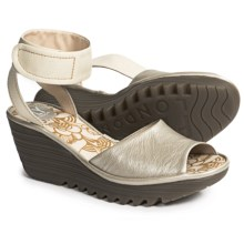 Fly London Yula Wedge Sandals - Leather (For Women) in Silver/Off White - Closeouts