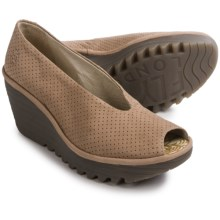 Fly London Yury Perf Shoes - Nubuck, Wedge Heel (For Women) in Beige - Closeouts