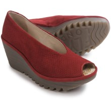 Fly London Yury Perf Shoes - Nubuck, Wedge Heel (For Women) in Cordoba Red - Closeouts