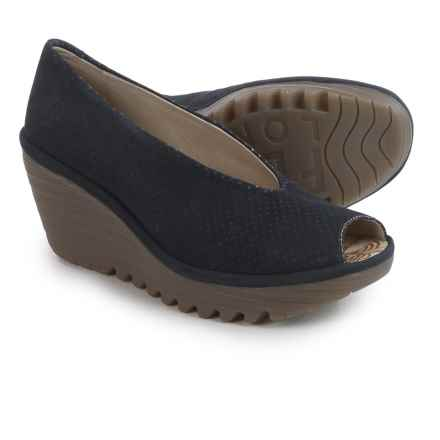 Fly London Yury Perf Shoes - Nubuck, Wedge Heel (For Women) in Navy - Closeouts