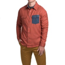 Flylow Handlebar Tech Flannel Shirt - Snap Front, Long Sleeve (For Men) in Redwood/Night Pocket - Closeouts