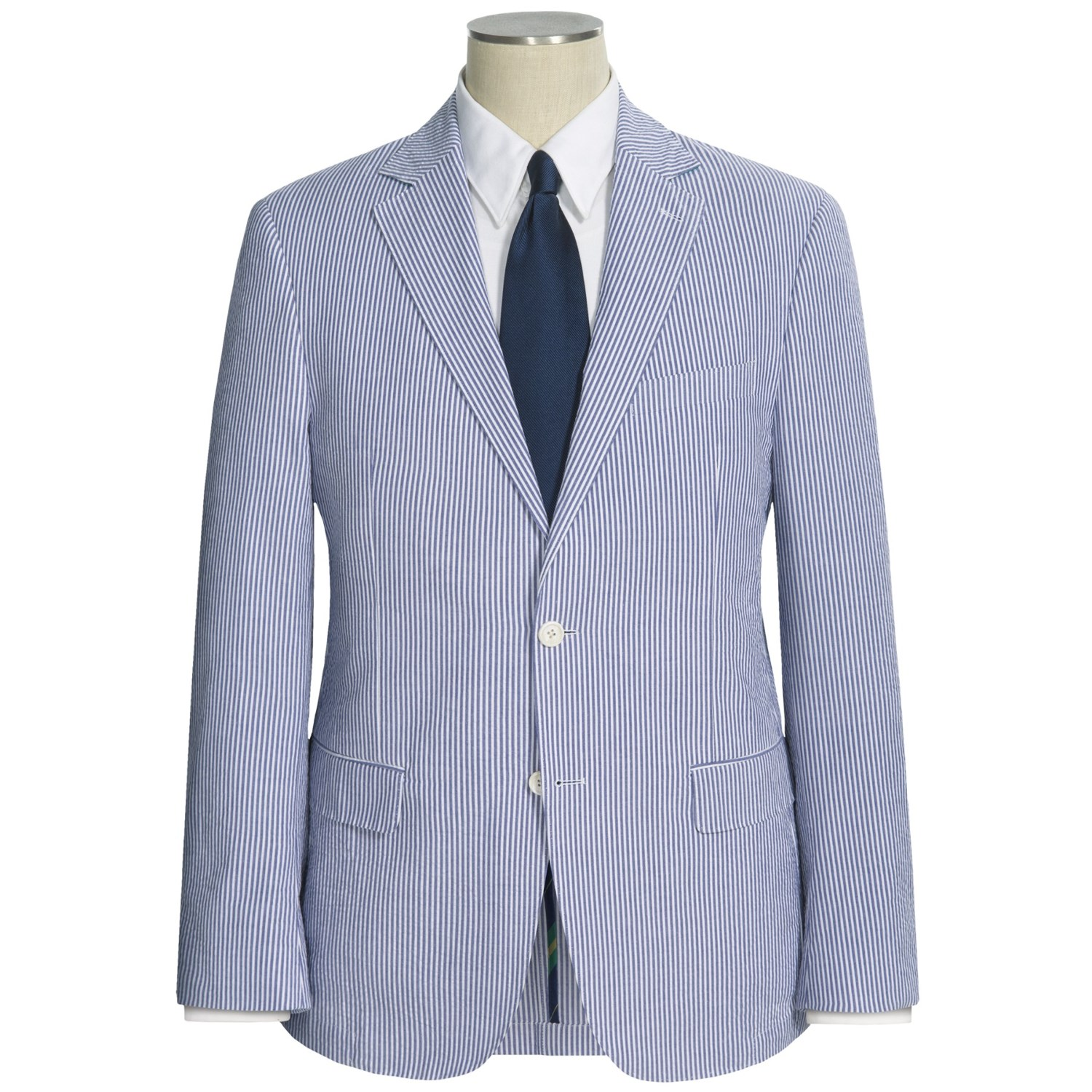 Our men's blue striped seersucker two-button suit is made from pure cotton seersucker. Our Regular Fit is favored for its relaxed fit. Imported/5(3).