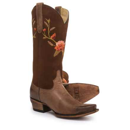 FM 1101 Alejandra Cowboy Boots - Leather (For Women) in Brown/Red - Closeouts