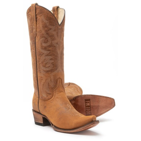 FM 1101 Hot Paprika Western Boots - Leather (For Women) in Honey