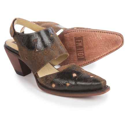 FM 1101 Sunny Heeled Mary Jane Shoes (For Women) in Brown - Closeouts