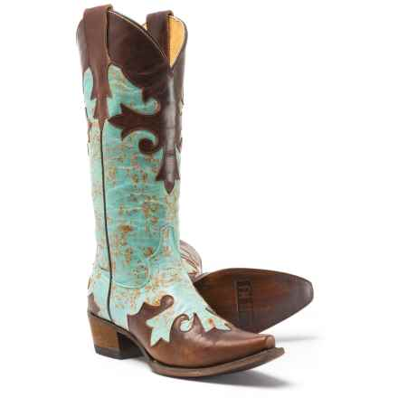 FM 1101 Villa Western Boots - Leather (For Women) in Brown/Light Blue - Closeouts