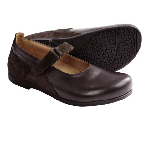 Footprints by Birkenstock Wiesbaden Mary Jane Shoes - Leather (For Women) in Dark Brown