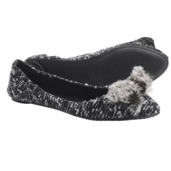 Footzyfolds Boucle Flats (For Women) in Black/White