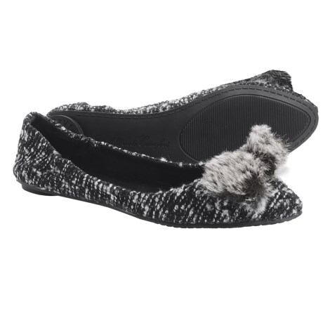 Footzyfolds Boucle Flats (For Women) in Brown