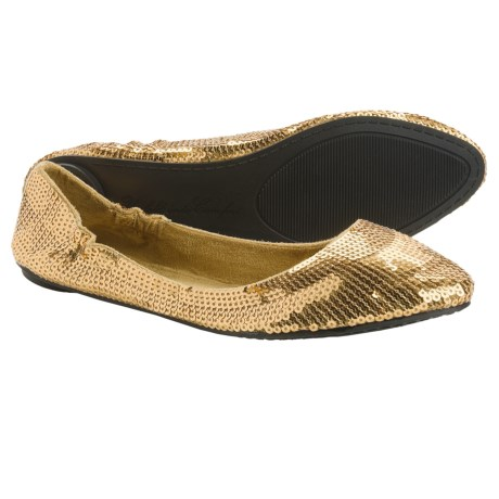 Footzyfolds Spark Burst Shoes - Slip-Ons (For Women) in Gold