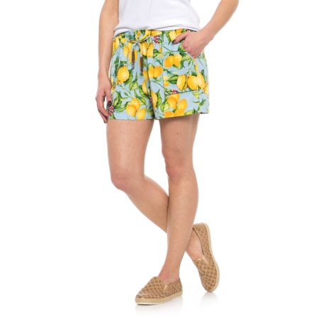 For Cynthia Beaded Drawstring Shorts (For Women) in Blue/Yellow