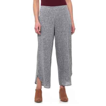 For Cynthia Black/White Cross-Dye Wide Leg Pants - Linen (For Women) in Black/White - Closeouts